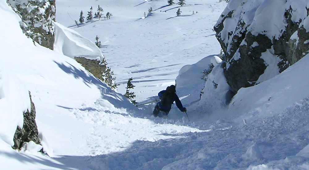 The area offers a variety of terrain including steep chutes