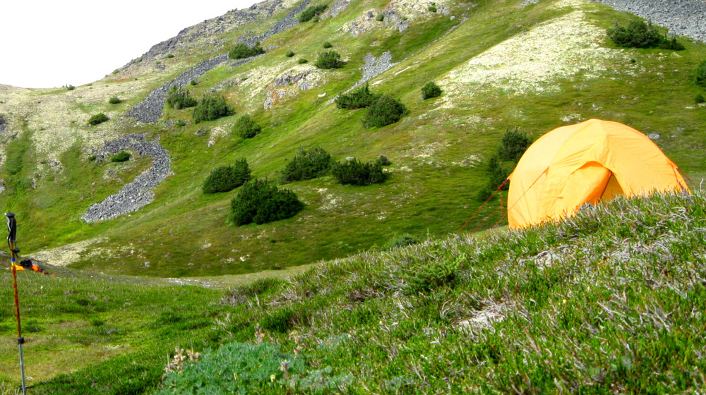 Camping on the slopes of the Takshanuk Ridge and Mt. Ripinsky