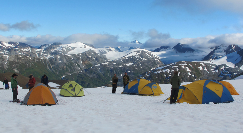 Setting up camp on a 5-day mountaineering course