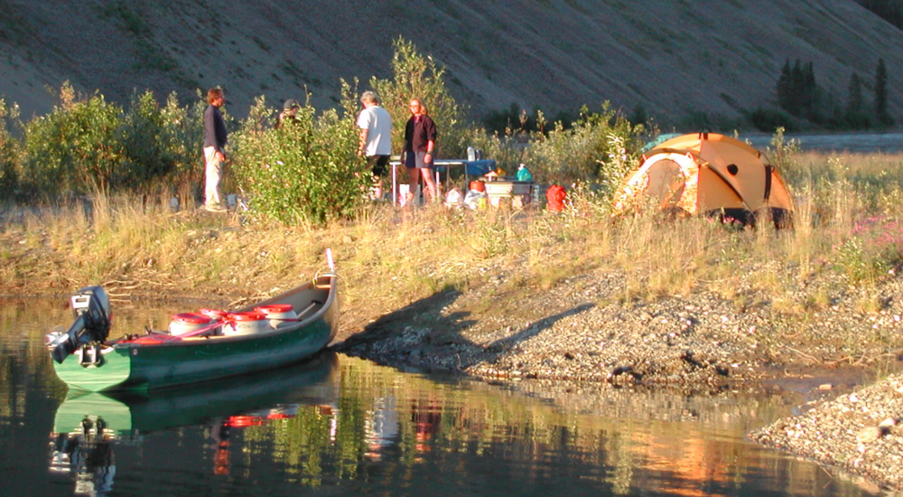 Camping along the banks of the Yukon River