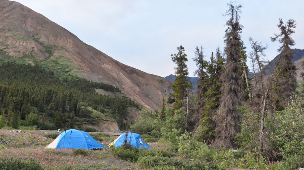 Camping towards the end of the route on along the Duke River