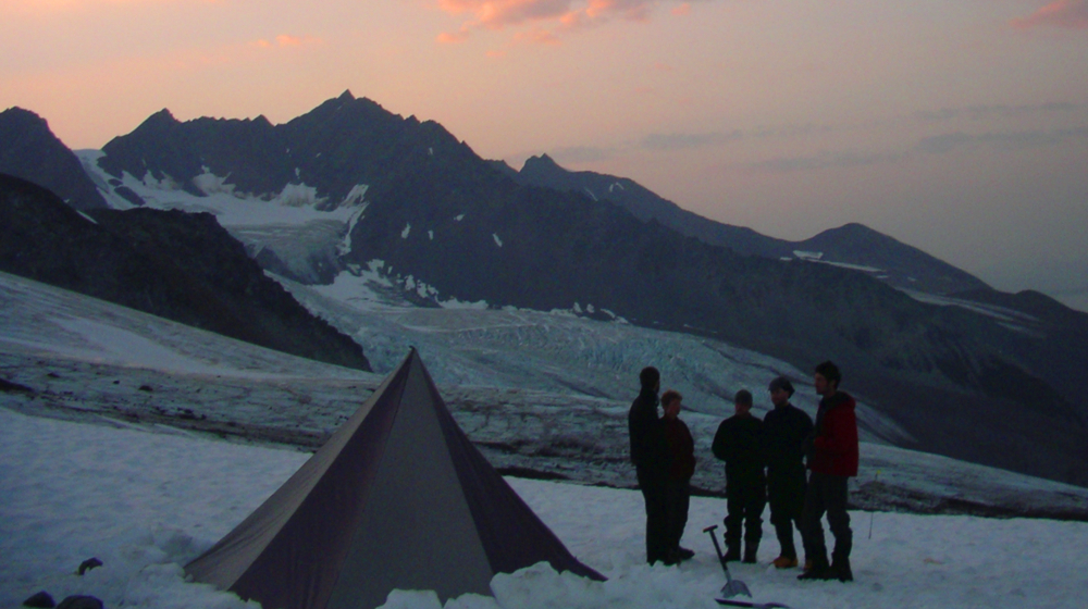 Enjoying a sunset on the glacier