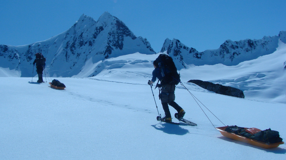 We'll practice moving camp and hauling sleds; key skills for any Alaska mountaineering expedition