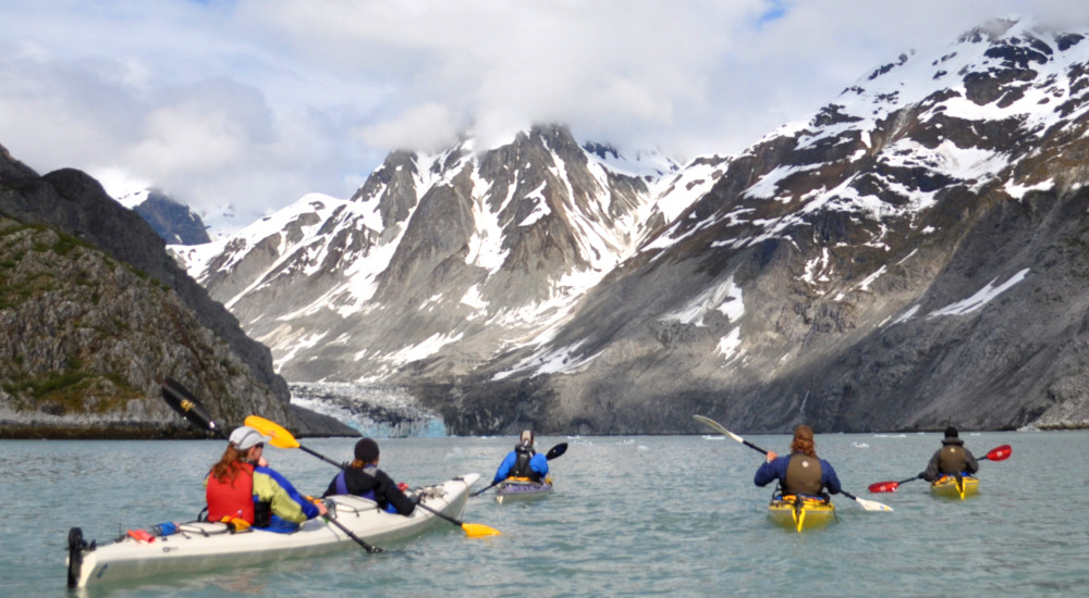 Paddling into the upper reaches of Glacier Bay's east Arm