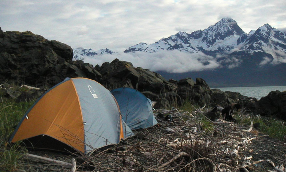 Camping along the Chilkat Inlet outside of Haines, AK