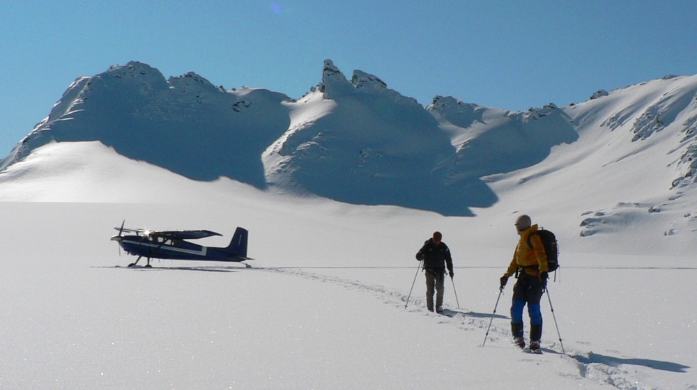 Dropping off on the glacier for a day of skiing by ski plane
