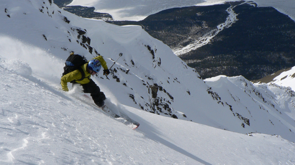 Steep skiing on coliours across the border in Canada