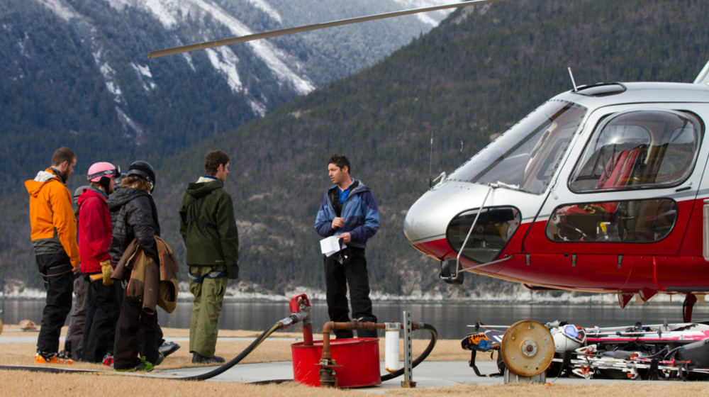 Safety briefing from the waterfront heli-port in Skagway