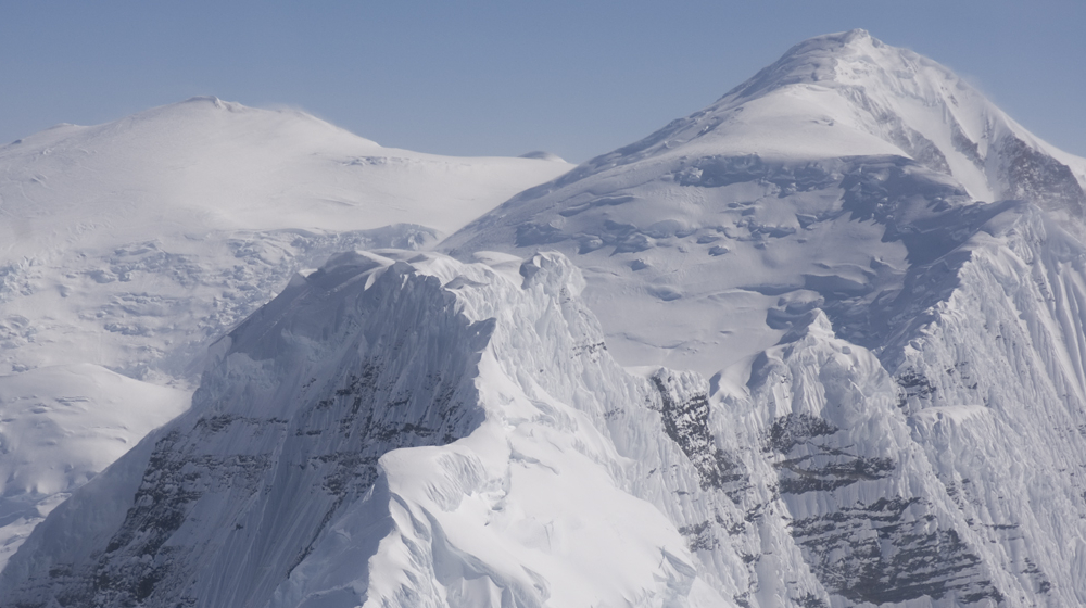 View of the summit of Bona and Churchill during the flight into basecamp