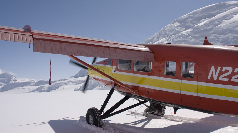 Flying into basecamp with a turbo prop Otter from Chitna