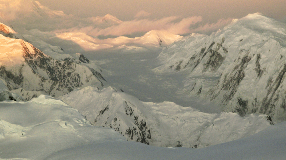 View with alpenglow from high camp on Mt. Bona