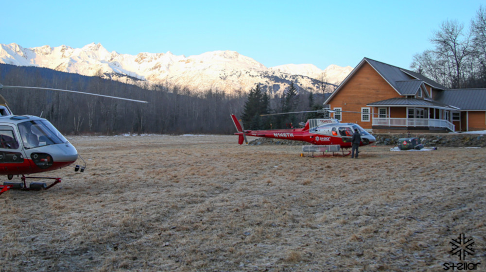 Prepping to head out for a day of skiing from our heli in/out lodge