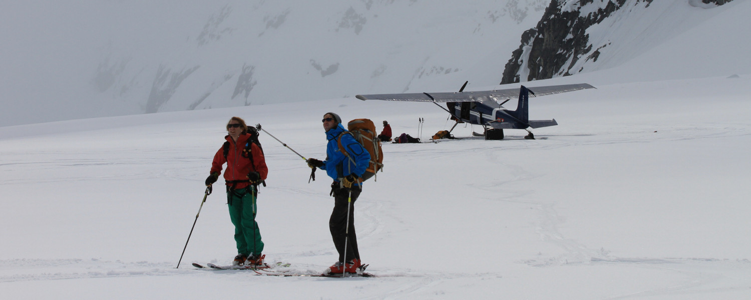Enjoying a day of ski plane access backcountry skiing near Haines