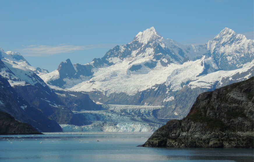 The Johns Hopkins glacier in Glacier Bay from the day boat