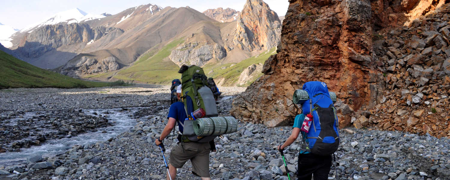 Setting out on a 12 day hike of the Donjek Route in Kluane National Park