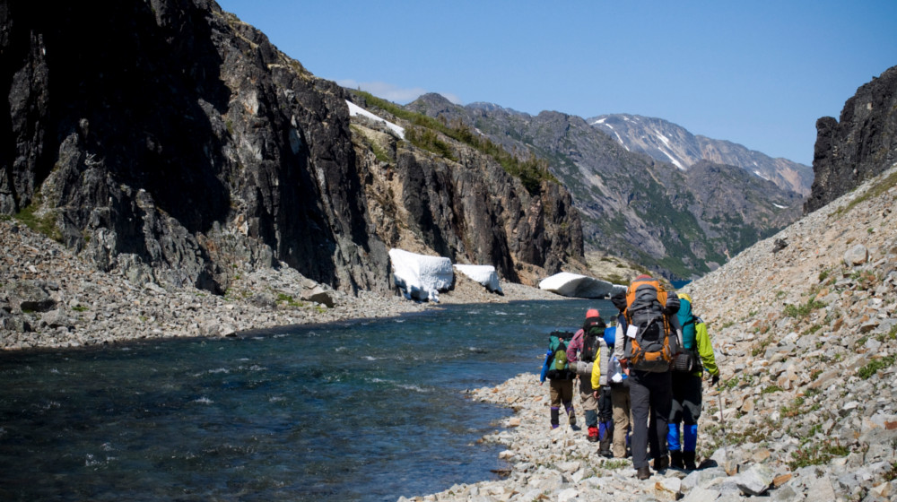 Groups walk in the footsteps of the stampeders from the Alaska Gold Rush of the late 1800's