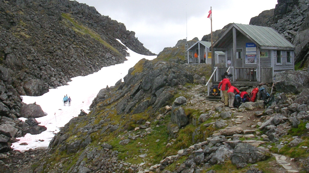 Warming hut near the Chilkoot Pass in the clouds
