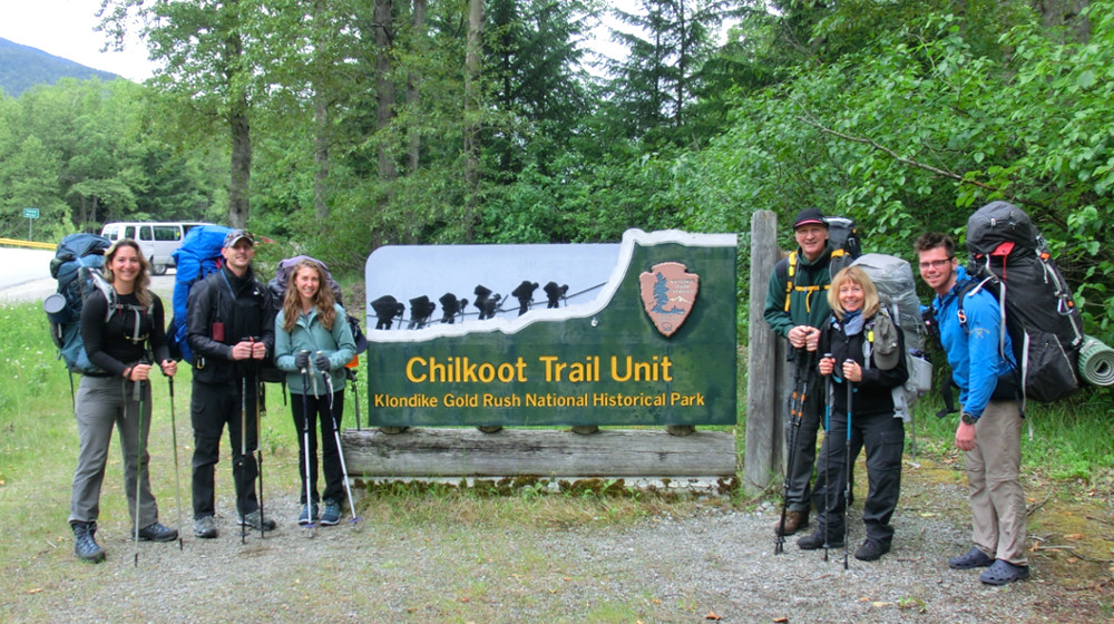 Group at the Chilkoot trailhead in Dyea, along the Taiya River
