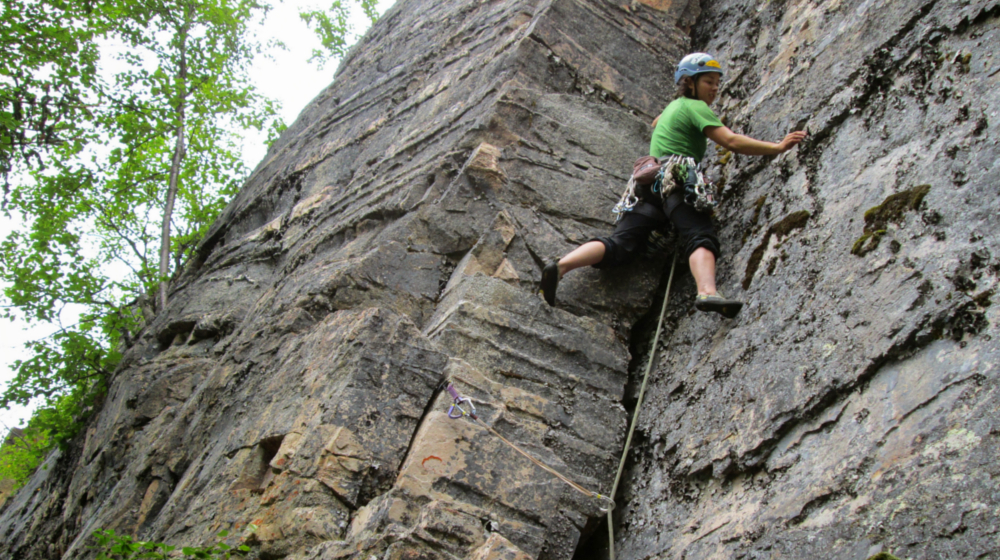 Leading up a 5.8 corner at Porcupine Crag