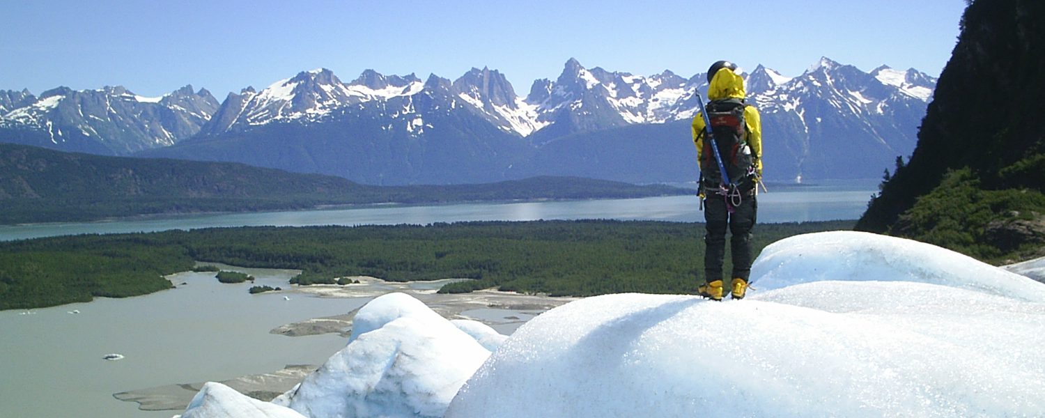 Taking in the view while glacier trekking in Alaska
